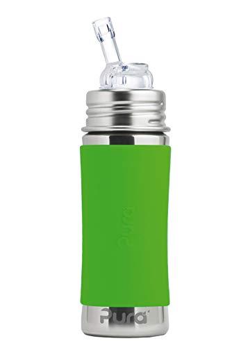 Strohhalmflasche 300ml/325ml Edelstahlflasche mit einem Trinkhalmaufsatz. Inklusive Travelcover (Schutzhaube) aus Silikon in Grün