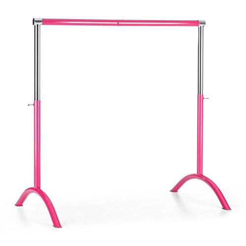 Klarfit Bar Lerina Ballettstange (Holmlänge 110 cm, freistehend, mobil, höhenverstellbar 70-113 cm, Bogenfüße, 38 mm Stahlrohr) pink