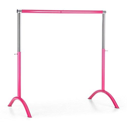 Klarfit Bar Lerina Sbarra Danza Classica Mobile Portatile in Acciaio (110 x 113 cm, Altezza Regolabile, struttura libera, diametro 38 mm) rosa