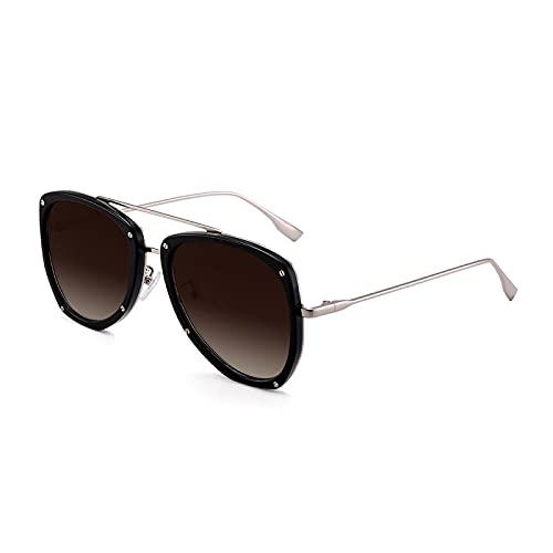 Gafas De Sol De Moda Unisex Gafas De Sol De Piloto Vintage Hombres Mujeres Gafas De Sol Retro De Doble Puente Uv400 C1Greybrown