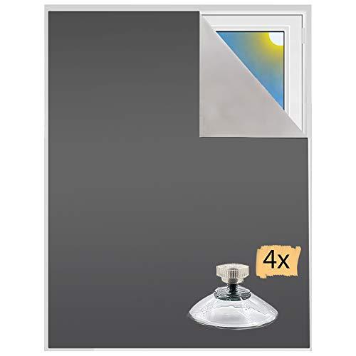 Verdunklungsstoff inkl. Saugnäpfe | Sonnenschutz zu 100% verdunkelnd | Folie mit Thermobeschichtung | Meterware für Fenster und Dachfenster lichtundurchlässig | Blackout (Grau mit Saugnäpfen)