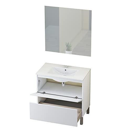 Baikal Conjunto Mueble de Baño con Espejo y Lavamanos Cerámico, de una...