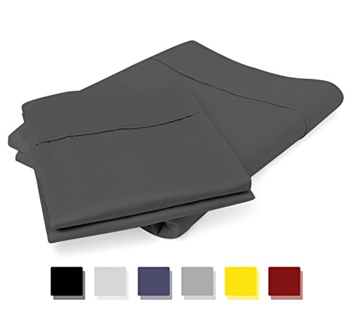 Mayfair Linen 100% Egyptian Cotton Sateen Weave 800 Thread Count Standard/Queen Pillow Cases - Dark Grey