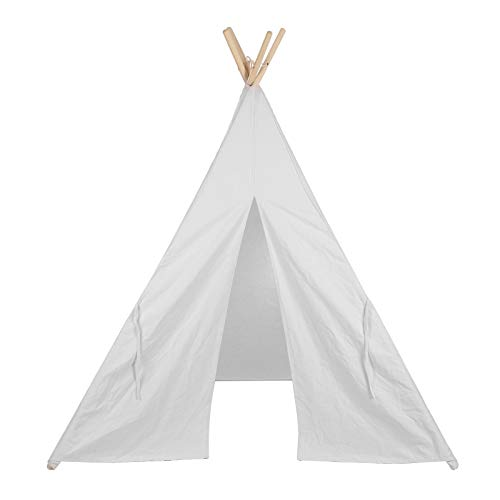 Quieting Kids Teepee Play Tent Children Large Cotton Canvas Indian Wigwam Playhouse Indoor White