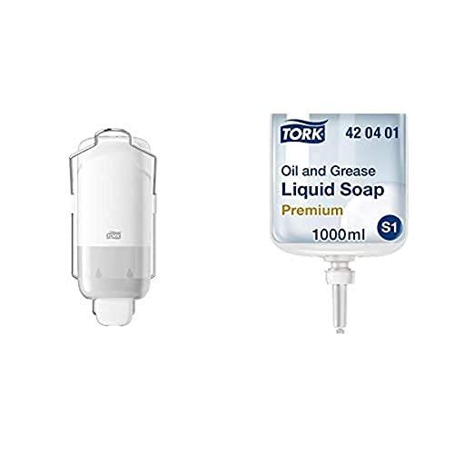 Tork 560100 Dispensador para jabón líquido y en Spray, Dosificador Elevation Compatible con S1, Blanco y 420401 Jabón líquido para Aceite y Grasa, Jabón Anti Grasa Compatible con S1, 1 litro, Neutro