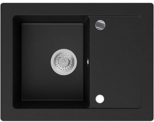 Granitspüle Schwarz 64 x 49 cm, Spülbecken + Siphon Automatisch, Küchenspüle ab 45er Unterschrank in 5 Farben mit Siphon und Antibakterielle Varianten, Einbauspüle von Primagran