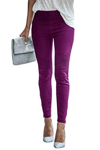 Damen Mode Freizeithose Stretchhosen Elastisch Hohe Taille Einfarbig Tights Jeggings Bleistifthosen Skinny Hose Leggings Joggers (Lila, XL)