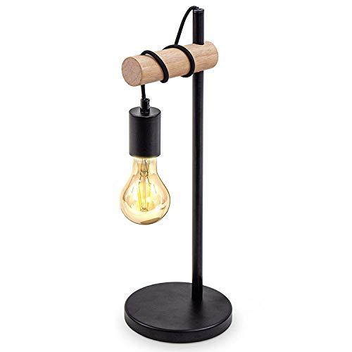 Tischlampe, 1 flammige Vintage Tischleuchte, Retro Lampe, Nachttischlampe aus Stahl und Holz, Holz, Rund, E27 Fassung, Ohne Leuchtmittel