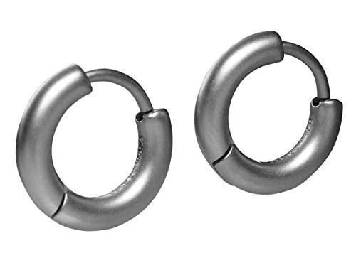 Kikuchi Unisex klassieke oorbellen titanium staafjes roestvrij staal klap- creolen zilver mat 12mm Ø Slim Tube ERTS011