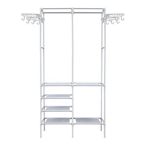 YOOKEA Kleiderschrank offen Kleiderständer Freistehender Garderobenschrank mit Verstellbaren Ablagen Garderobenständer mit Kleiderstange und Vier Seitenhaken, 86 x 44 x 174 cm, Weiß