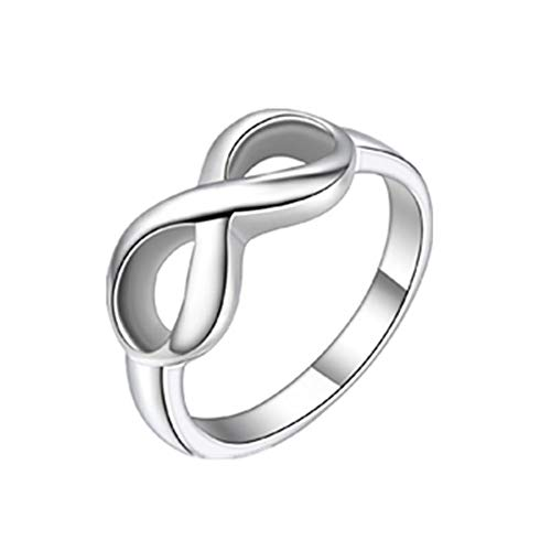 JewelryWe Joyería Infinito Anillo De Mujer, 8 El Amor Infinito Infinity Love, Anillo Acero Inoxidable, Elegante 8mm Color Plata, Talla 22 … (9.5)