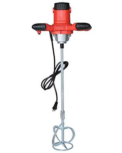 Electric Mortar Mixer, 1600W AC 110V Concrete Mixer, Adjustable 6 Speed Cement Plaster Grout Paint Thinset Mortar Paddle Mixer Pro Drill Mixer Handheld Stirring Tool