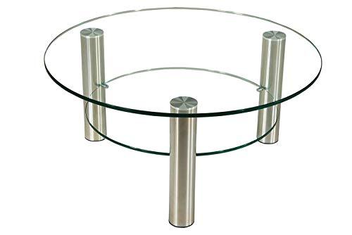 Darwin1321-A tischdesign24 Exklusiver Couchtisch rund 12mm Glasplatte. Gestellsäulen in 80mm rund Chrom gebürstet mit Rollen. Tischplatte Klarglas mit Klarglas-Ablage Größe: 90cm Ø Höhe 42cm