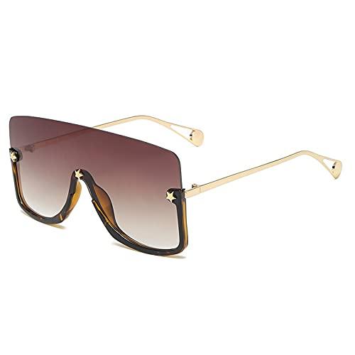 AMFG Fashion Damas Big Frame Gafas de sol Personalidad de moda Hombre Perrero solar Gafas de sol para montar al aire libre (Color : E)