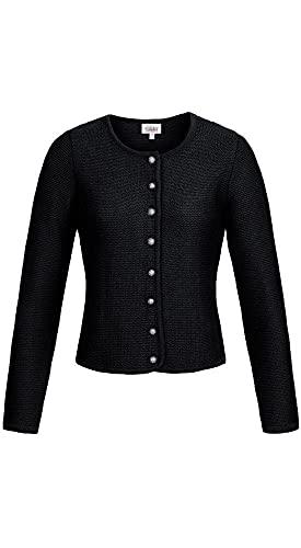 Nübler Trachtenstrickjacke Anni, Taillierter Schnitt, Strickjacke für Dirndl und Lederhose, Trachtenjacke Damen Schwarz Gr. 34