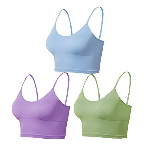 Lemef Yoga Sports Bras entrenamiento Crop Tops para mujer con almohadillas extraíbles, Azul*púrpura*verde militar, L