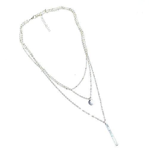 Oumosi - Collana con 3 catenine di lunghezza diversa, con pendenti a barra e moneta, placcatura oro