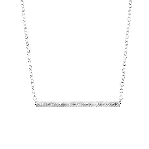 YOOE Classical Balance Beam Scales Horizontal Pendant Necklace,Minimalism Pipe Horizontal Bar Necklace for Women Girls Birthday Gifts (Silver)