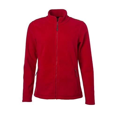 James & Nicholson - Damen Fleece Jacke mit Stehkragen im klassischen Design (L, red)