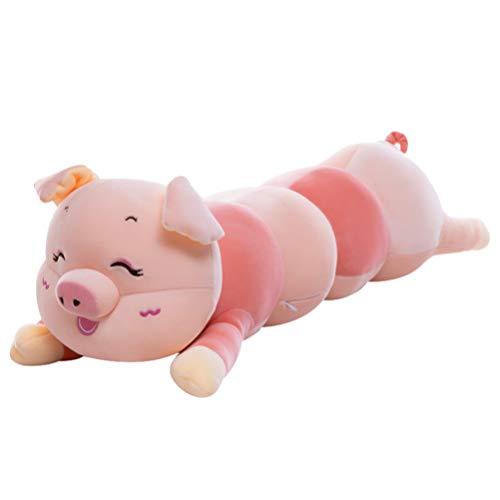 TOYANDONA Gran Almohada para Abrazar Cerdo Grande Oruga Animal de Peluche de Juguete Muñeca de Peluche Gigante para Niños Cumpleaños Navidad (Rosa,55cm)