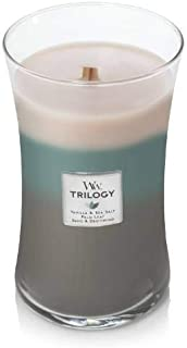 WoodWick Ocean Breeze Trilogy Large Hourglass Candle, 22 oz. - Vanilla & Sea Salt, Palm Leaf, and Sand & Driftwood