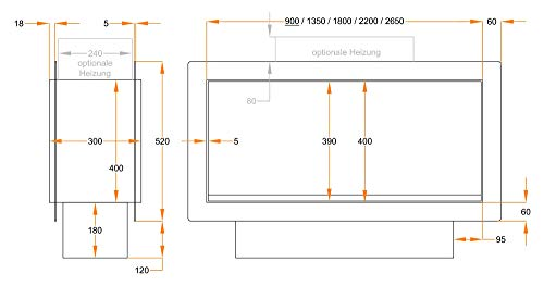muenkel Design Túnel FUEGO Electrónica – opti-myst elektrokamineinsatz: 900mm – sin calefacción – CON CRISTAL