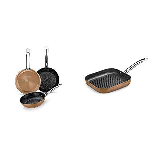 Monix M740040 Copper - Set de 3 Sartenes Efecto Cobre, Aluminio Forjado Antiadherente con Partículas de Titanio + Copper - Grill con rayas 28 x 28 cm de aluminio forjado con antiadherente