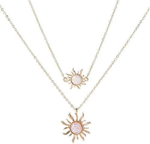 Necklace Sunflower Two Layers Necklace B Gold Silver Color Sun Opal Gem Pendant Choker Necklaces for Women Girls Wedding Gifts Jewelry