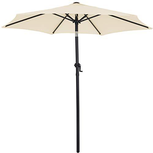 Kingsleeve Sonnenschirm I Ø 200cm I UV-Schutz 50+ I mit Kurbel und Neigefunktion I wasserabweisend I Aluminium - Kurbelschirm Gartenschirm beige