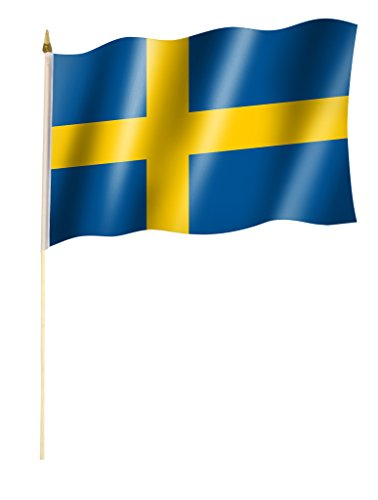 Sportfanshop24 Stockflagge/Stockfahne SCHWEDEN Flagge/Fahne ca. 30 x 45 cm mit ca. 60cm Stab/Stock