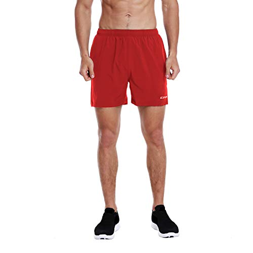 EZRUN Men's 5 Inches Running Workout Shorts Quick Dry Lightweight Athletic Shorts with Liner Zipper Pockets,Red,S