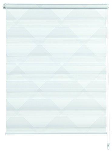 GARDINIA Doppelrollo zum Klemmen oder Kleben, Duo-Rollo/ Seitenzugrollo, Transparent und blickdicht, Alle Montage-Teile inklusive, Triangle, Weiß, 60 x 150 cm (BxH)