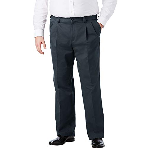 KingSize Men's Big & Tall Relaxed Fit Wrinkle-Free Expandable Waist Pleated Pants, Carbon Big-6838