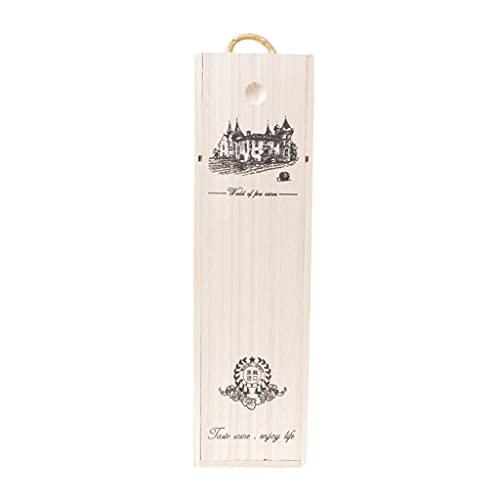 NJBYX Caja de madera de madera de madera vintage cajas de regalo de embalaje doble botella de almacenamiento portador (Color : A, Size : 35x10x10 cm)