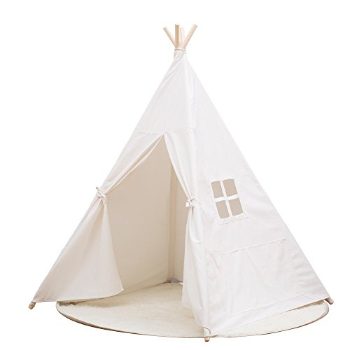 Small Boy Portable Kids Cotton Canvas Teepee Indina Play Tent Playhouse, Class White One Window...