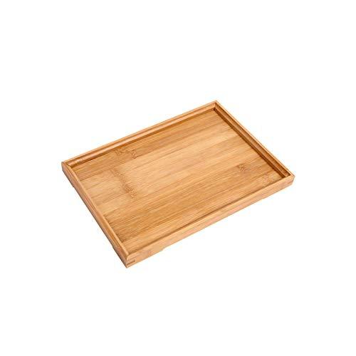 Bandeja de madera para té, bandeja de bambú para té, bandeja cuadrada para mesa Bandeja de madera sólida para servir Bandeja decorativa para cenas en el sofá cama, desayuno, mesas de café, 3 tamaños