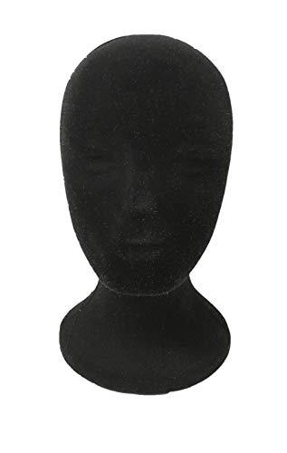 1 pz Espositore TESTA DONNA NERA POLISTIROLO cappello parrucca casco