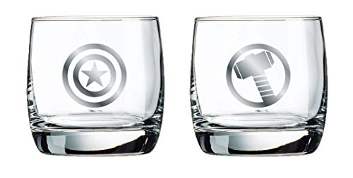 Marvel Glass Set - Captain America & Thor Logos - Collectible Gift Set of 2 Glasses - 10 oz. Capacity - Classic Design - Sturdy Bases