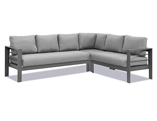 Wisteria Lane Patio Furniture Set, Outdoor Aluminum Sectional Sofa Couch, All-Weather Durable Metal Conversation Set with Upgraded Dark Grey Cushion