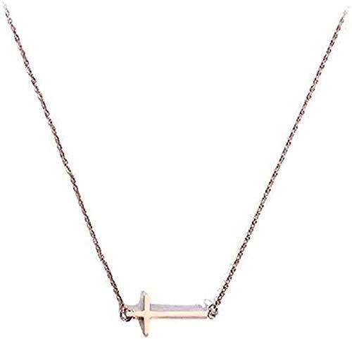 Mujeres corto 925 joyería de plata dulce simple oro rosa Cruz Joker colgante collar para mujeres hombres regalos