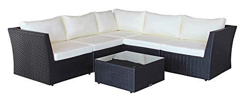 Baidani Designer Sitzgruppe Atmosphere, 1 Ecksofa, 1 Tisch mit Glasplatte, 2 Bezugsgarnituren, schwarz