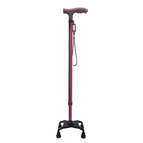 Bastón para Caminar, bastón Luminoso Multifuncional para Ancianos, bastón cuadrúpedo telescópico Antideslizante, Andador, Rojo