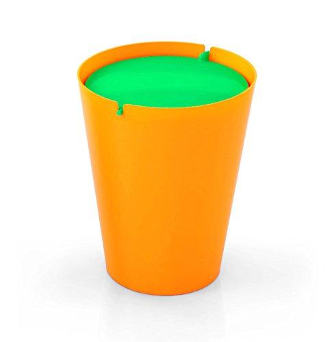 Outlook Design Italia Smarty Papierkorb mit Schwingdeckel, Kunststoff, Base Orange, 24x 24x 30cm Modern 24x24x30 cm Orange/Grün