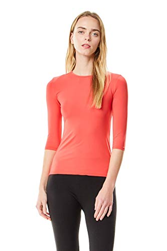 Chi-Chi NYC Womens Fitted Microfiber 3/4 Sleeve Shell Top Style CCMS (Cayenne, XS)