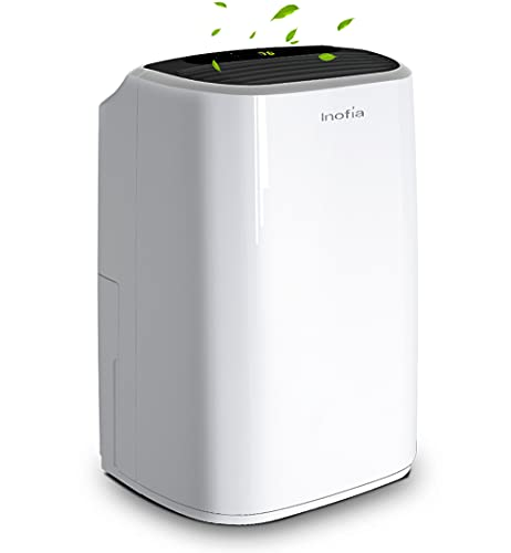 Inofia 30 Pint 1500 SQ FT Home Dehumidifiers for Basements Bathroom Garage Laundry/Store Room, Portable Dehumidifiers for Small & Midium-size Rooms with Continuous Drain Hose & Water Reservoir