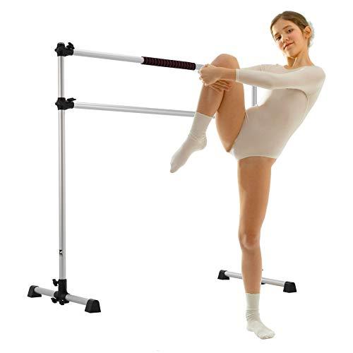 Z ZELUS Barra de Ballet Portátil para Gimnasio Barra de Ballet Doble Ajustable de 1,5 m Ballet Barre para Ejercicios de Baile en el Hogar con Banda Elástica y Bolsa (1,5M, Plata)
