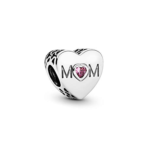 Pandora Jewelry Pink Mom Heart Cubic Zirconia Charm in Sterling Silver