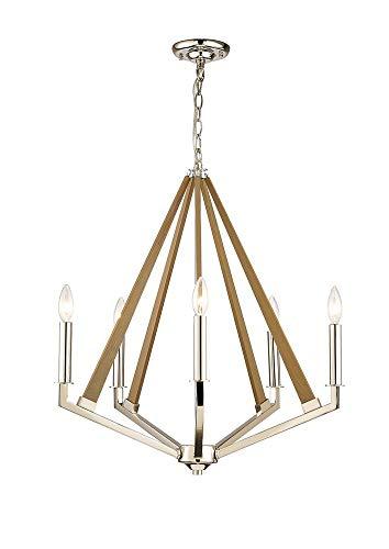 Inspired Diyas - Hilton - Lámpara colgante pentagonal de techo enjaulado 5 luces E14 níquel pulido, madera topo