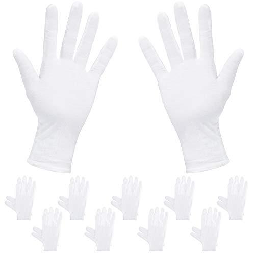 Rovtop 10 Pares Guantes de Tela - Guantes Hidratantes Blancos para Inspeccionar Joyas, Humectantes para Manos Secas y Trabajo Diario(XL, 9.8 Pulgadas)