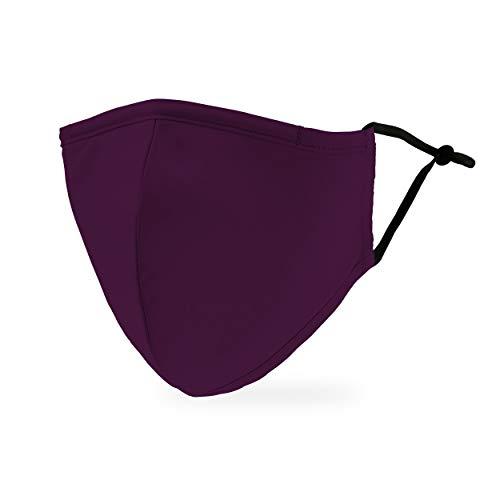Weddingstar Maschera facciale in tessuto lavabile per adulti Copertura protettiva in tessuto riutilizzabile e regolabile con tasca per filtro antipolvere - Viola scuro